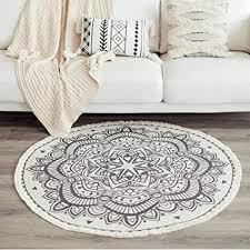 memorecool outdoor teppiche teppich rund 120cm boho mandala baumwoll rutschfest handwebte vintage teppich mit quasten waschbar für wohnzimmer