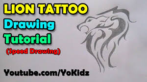 Speed Drawing Of How To Draw Tattoos Lion Tattoo On Paper Time Lapse