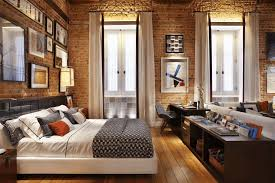 brick wall design ideas beige single sofa with wooden frame