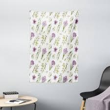 wandteppich wohnzimmer schlafzimmer wandtuch seidiges satin wandteppich abakuhaus rechteckig grün und lila pastellblumenblatt kaufen