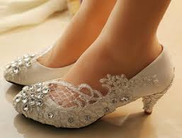 Lace Wedding Shoes Pearl Bling Flat Rhinestone Ballet Flats Would Be Better With A Wider Heel