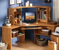 Corner Computer Desk With Hutch by Varnished Pine Wood Corner Computer Desk Which Mixed With Blue