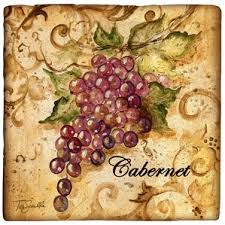 Ambiance Wine Grapes Travertine Coaster Set Of 4