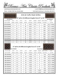 Decorative Air Conditioning Return Grille by Decorative Grilles Size Chart Beaux Arts Classic Products