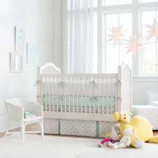 french gray and mint quatrefoil 3 piece crib bedding set