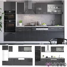 vicco küche r line 300cm küchenzeile küchenblock einbauküche anthrazit hochglanz