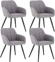 woltu 4 x esszimmerstühle 4er set esszimmerstuhl küchenstuhl polsterstuhl design stuhl mit armlehne mit sitzfläche aus leinen gestell aus metall
