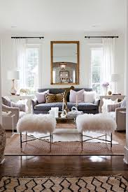 Mirror Decor In Living Room Transitional With Wood Floor Natural Fiber Sheep Skin