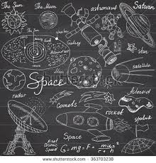 Space Doodles Icons Set Hand Drawn Stock Vector