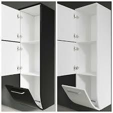 seitenschrank hochschrank midischrank badschrank schwarz weiß badezimmer modern