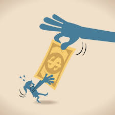 Big hand robbing seizing stealing money Dollar from woman businesswoman