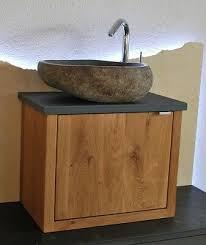 waschtisch design luxus granit flußstein findling waschbecken bad eiche massiv
