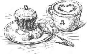 thedarlingbakers kaffee und kuchen clipart schwarz weiss