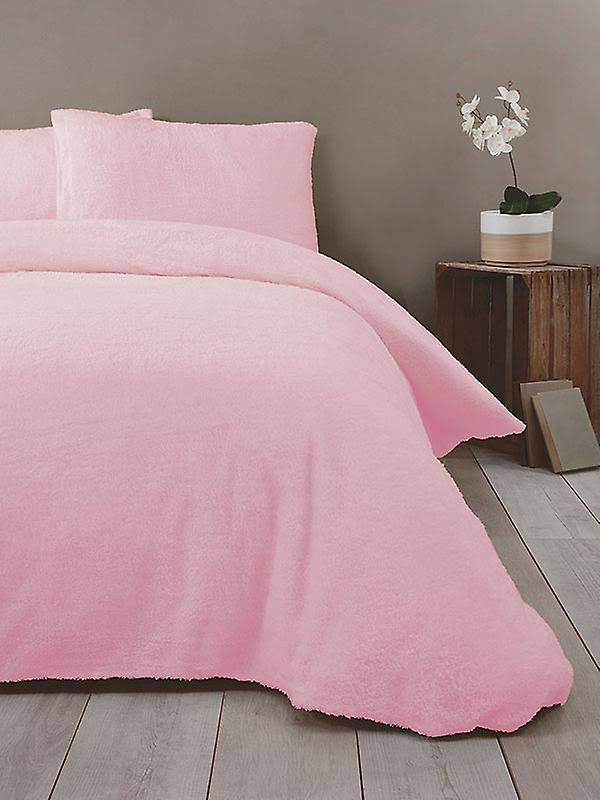 Rapport Super Soft Teddy King Duvet Cover Set Pink