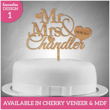 WOODEN Mr Mrs PERSONALISED Wedding Cake Topper Decoration Keepsake