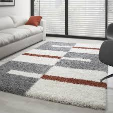 hochflor langflor wohnzimmer shaggy teppich florhöhe 3cm grau weiss terrakotta größe 60x110 cm