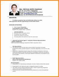 5 Applicant Resume Sample Filipino Simple