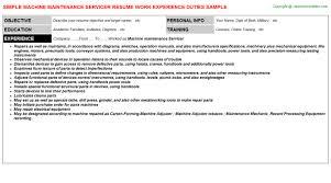 Machine Maintenance Servicer CV Resume Template Format