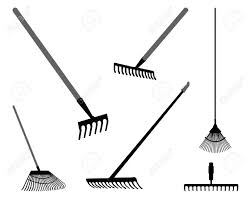 Black silhouettes of rake on a white background 2 vector Stock Vector
