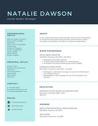Social Media Resume Template Canva Pale Turquoise Manager Simple Templates Ideas