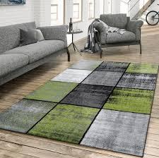 teppich wohnzimmer modern kariert meliert grau schwarz grün größe 80x150 cm