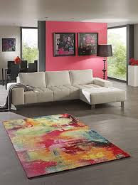 teppich designer wohnzimmer teppich modern splash multicolor 200x290 cm schadstofffrei rot grün blau