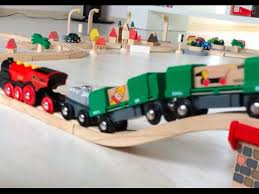brio u0026 plan city toy cargo trains u0026 trucks are riding on the