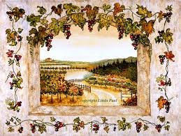 Grape Wall Decor For Kitchen by Wine Decor Grapes Vine Vineyard Art On Canvas And Tile