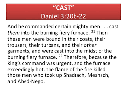 The Burning Bed Cast by The Faith Of Shadrach Meshach U0026 Abednego