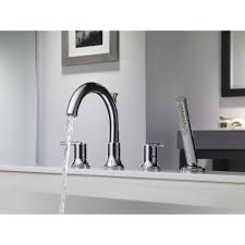 Delta Trinsic Faucet Black by Delta Trinsic Deck Mount Chrome Roman Tub Faucet With Valve And
