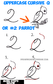 How to Draw Cartoon Parrot from Number 2 or Capital Cursive Letter Q