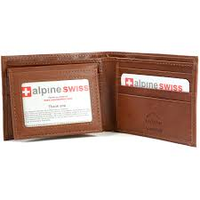 alpine swiss rfid blocking mens leather bifold wallet removable id