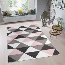 pimky teppich kurzflor rosa weiß schwarz grau modern dreiecke