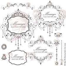 Chandelier Frames Black Retro Flourish Swirl Elegant Chain Crystal Floral Wedding Scrapbook High Resolution VECTOR