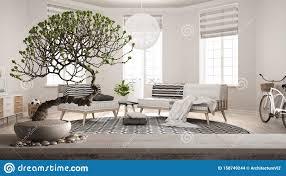 vintage holztisch mit kiesel und töpfen blüten bonsai weiße