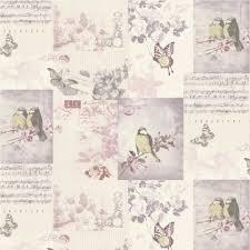 Shabby Chic Vintage Bird Cage Wallpaper Mauve Blue Pink Patchwork