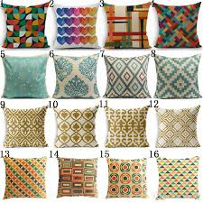 Bohemian Style Cotton Linen Pillow Case Vintage Geometric Chair Seat And Waist Square 45x45cm Cover Home Garden Textile Wicker Couch Cushions 25x25