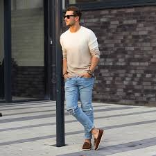 Man Casual Jeans Jumper Street Style