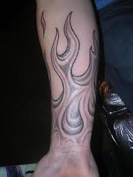 Chinese Phoenix And Red Flames Tattoos On Arm Photo