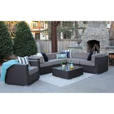 Alexandra 7 PC Modern Outdoor Rattan Patio Furniture Sofa Set Modular