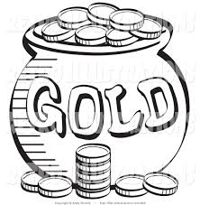Black And White Coloring Page Of A Stack Coins Near Pot Leprechauns Gold
