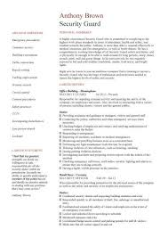 Resume For Security Guard Cv Sample Best Professional Officer Example