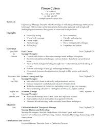 Massage Therapist Resume Sample Together With Best Example Therapy Student Examples Salon Spa