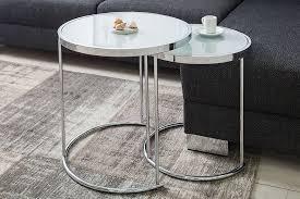 design couchtisch deco ii 50cm 2er set chrom opal weiß