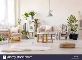 pouf nächste im hellen wohnzimmer einrichtung mit pflanzen