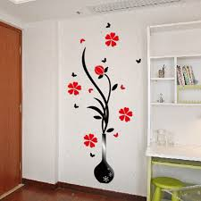 Acrylic Wall Art Flower 3d Decals Crystal Vases Stickers Plum For Living Room Hallway Home Decoration