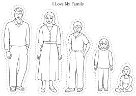 Family Members With 3 Childrens Coloring Pages