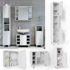 vicco badmöbel set fynn weiß hochglanz badezimmer spiegel kommode unterschrank bad badschrank