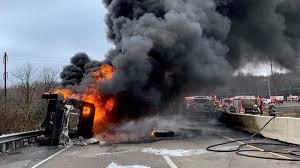 100 Tanker Truck Explosion Fire Burns On Busy Ramp Between I95 And Woodhaven Road