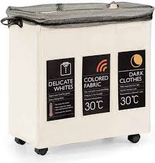costway wäschekorb wäschekorb 120l wäschekorb 3 fächer wäschesammler mit 6 karte deckel griff rollen wäschesack wasserabweisend wäschebox